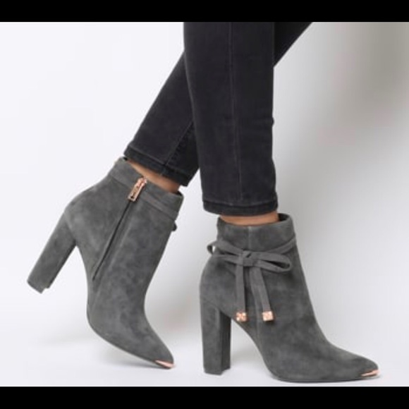 Grey Suede Ted Baker Ankle Boot
